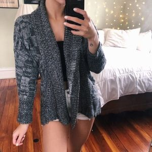 Cute Knitted Short Gray Cardigan Sweater
